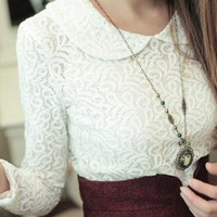 Antiquarian Charisma Lace Pattern Top in Snow White | Sincerely Sweet Boutique