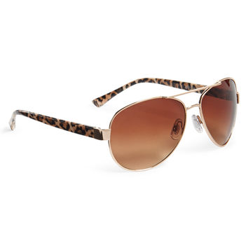 Leopard Aviator Sunglasses