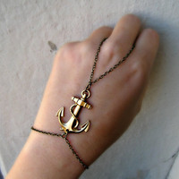 golden anchor slave bracelet by alapopjewelry
