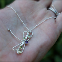 Dragonfly sterling silver Necklace Peridot and by KittyStoykovich