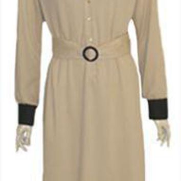 1970s Vintage JC Penny Cream Shirt Dress