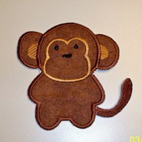 Brown simple monkey iron-on applique patch | UniqueEmbroideries - Accessories on ArtFire