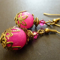 Vintage earrings hot pink opaque glass bridal by Dewdropsdreams