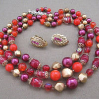 Rose Raspbery Vintage Bead Necklace Set by ChickenLittleJewelry