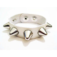 Punk Rock Leather Stud Cuff in White by RogueCityKillers on Etsy