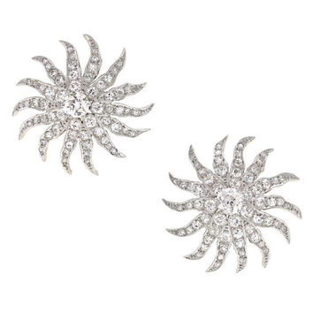 Art Deco Diamond Sunburst Earrings