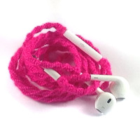 iPhone Headphones, Tangle Free, Wrapped Earbuds Custom Headphones Neon Pink iPhone 5 Headphones 5c, 5s, iPhone 4, 4s, Cell Phone Accessories