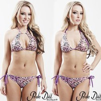 Pink Doll Boutique $68 Purple Leopard Star, Multi-Way Bikini