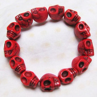 red Turquoise skull bracelet Day of the by sweethearteverybody