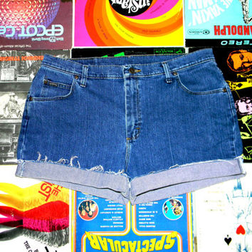 Vintage Denim Cut Offs - 90s Classic Stone Washed STRETCH Jean Shorts - High Waisted/Frayed/Rolled Up/Cuffed Shorts by Riders Plus Size 18
