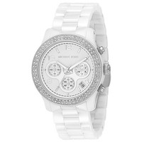 Michael Kors White Dial Ceramic Strap with Glitz Watch 5188
