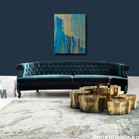 acrylic abstract painting - acrylic on canvas - abstract expressionism - southwest - teal - brown modern art