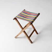 vintage camp stool / striped canvas folding seat