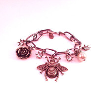 Antique bronze bee charm bracelet