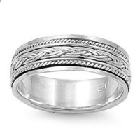 Handcast Unisex 925 Sterling Silver Celtic Weave Spin Spinner Ring | museumreplicajewelry - Jewelry on ArtFire