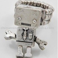 Source New Silver Clear Crystal Futuristic ROBOT Ring on m.alibaba.com