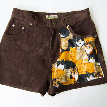 Vintage St Johns Bay Washable Brown Suede Cat Print Cut Off Distressed Shorts