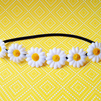 "Handmade ""Darling Daisy Too"" Rounded Daisy Flower Crown Flower Halo Headband"