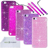 iPod Touch 5 Case Bundle including 5 Bling Glitter Hard Cases for iPod Touch 5th Generation / 4 Stylus Pens / 2 Screen Protectors / 1 ECO-FUSED Microfiber Cleaning Cloth - Perfect for Girls - (Dark Purple, Purple, Pink, Light Pink, Hot Pink)