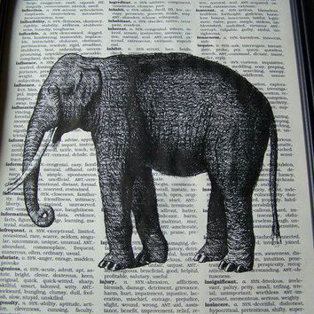 ELLY THE ELEPHANT IS HERE 8 X 10 PRINT ON by Winterberrycottage