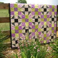 Handmade Quilt Delightful Purple, Green And Black | Luulla