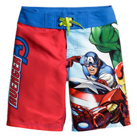 H&M - Swim Shorts with Printed Motif - Red/Avengers - Kids