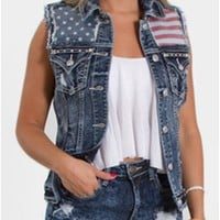 Miss Me Jean Vest with American Flag Design JJ7545VXX