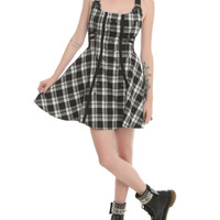 Hell Bunny Black And White Plaid Steampunk Dress
