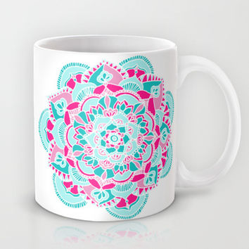 Hot Pink & Teal Mandala Flower Mug by Tangerine-Tane