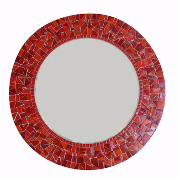 Red Round Mosaic Wall Mirror