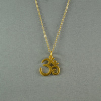 Beautiful Ohm Necklace Satin Finish Vermeil by WonderfulJewelry