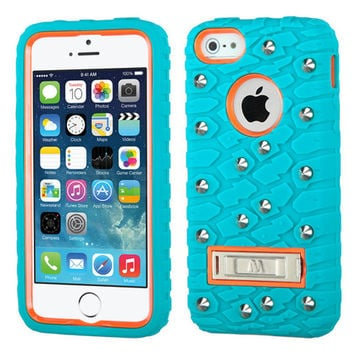 MYBAT Tread Texture TUFF eNUFF Case for iPhone 5/5S - Orange/Teal