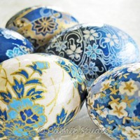 Easter Eggs Teal Blue Easter Eggs Decoupage by CatnipStudioToo
