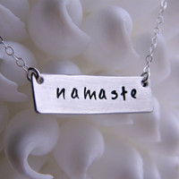 Hand Stamped Necklace namaste Sterling by PureJewelDesigns
