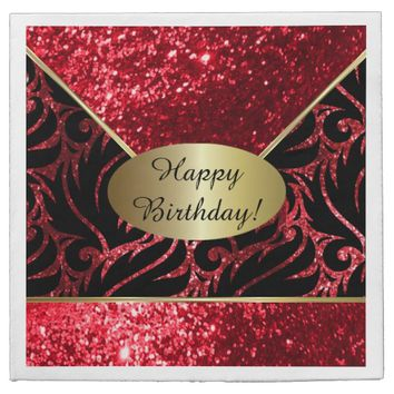 Red Glitter Designer Background Napkins