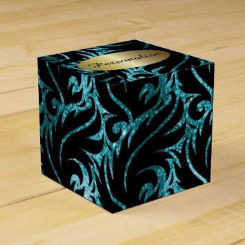 Teal Glitter and Black Designed Favor Box