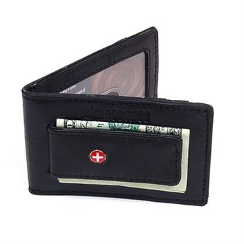 Slim Money Clip Front Thin Pocket Wallet Leather Magnet Clip ID Window 3 Cards