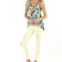 Mid Rise Destroyed Skinny Jeans - Soft Yellow