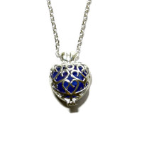 Blue Sea Glass Heart Charm Necklace