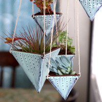 Hanging Planter - Geometric Triangle with Dots Design - Modern Home Decor - Aqua Mist - Ready to Ship