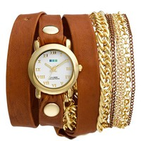 La Mer Collections 'Arizona' Leather & Chain Wrap Bracelet Watch, 32mm x 30mm
