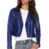 Just Female Dagman Convertible Leather Jacket - Navy