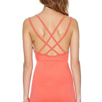 Nasty Gal Deep Trouble Dress - Coral
