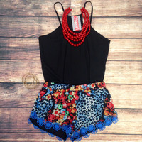 LEOPARD NIGHTFALL SHORTS IN BLUE