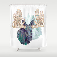 Grey Moose Shower Curtain by Rachel Zavarella