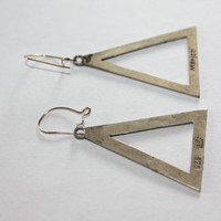 Sterling Silver Earrings Triangle Drop Dangle Mexico  1960s  Jewelry