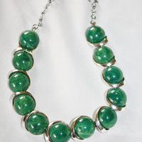 Vintage Green Thermoset Necklace  1950s Jewelry  Jewelry