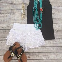 White/Ivory Lace Shorts