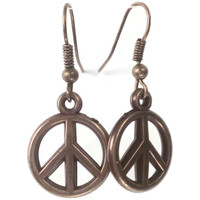 Peace Sign Copper Earring, Hippie jewelry, Proceeds to Charity