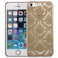 GreatShield TACT Series Design Pattern Rubber Coating Ultra Slim Fit Hard Case Cover for Apple iPhone 5 / 5S (Damask - Gold)